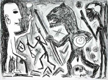 Lithograph Penck - Homer u. Aristoteles, 1 Blatt