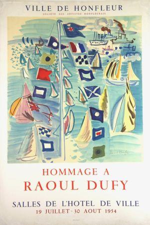 Lithograph Dufy - Hommage à Raoul Dufy  Ville de Honfleur