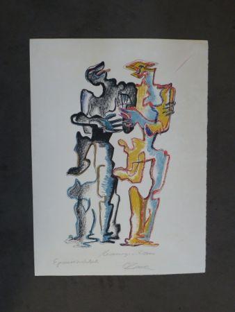 Lithograph Zadkine - Hommage à Rodin