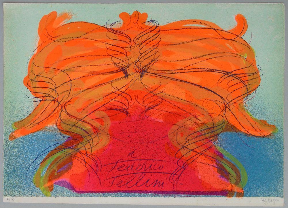 Lithograph Messagier - Hommage a Fellini