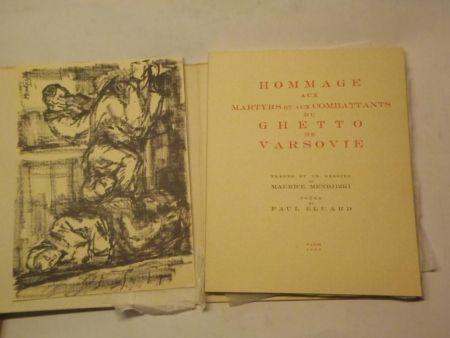 Illustrated Book Mendjizki -  Hommage aux martyrs et aux combattants du Ghetto de Varsovie. Trente et un dessins de Maurice Mendjizki. Poème de Paul Eluard.