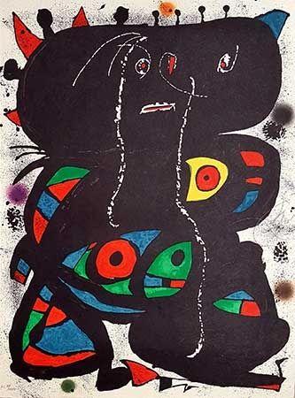 Lithograph Miró - Hommage aux prix Nobel