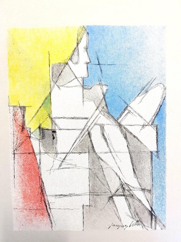 Lithograph Villon - Homme