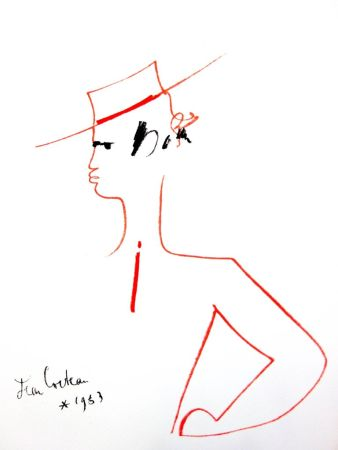 Lithograph Cocteau - Homme au Chapeau
