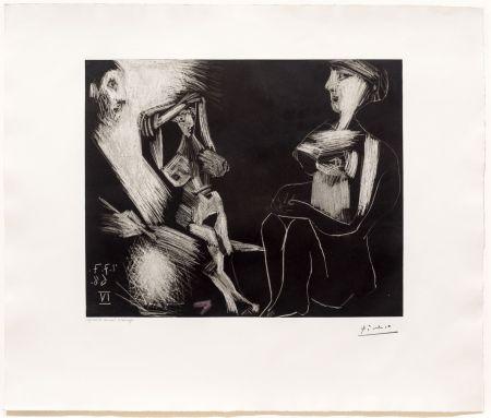 Aquatint Picasso - Homme avec Deux Femmes Nues