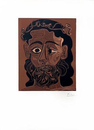 Linocut Picasso - Homme barbu couronné de vignes