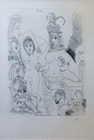 Engraving Picasso - Homme barbu songeant à une scène des Mille et une nuits, avec derrière lui des ancêtres réprobateurs