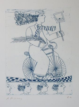 Etching And Aquatint Fassianos - Homme bleu au velo bleu