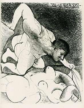Drypoint Picasso - Homme dévoilant une femme