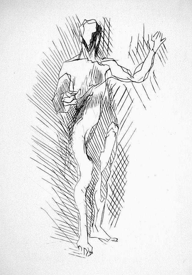 Engraving Villon - Homme debout
