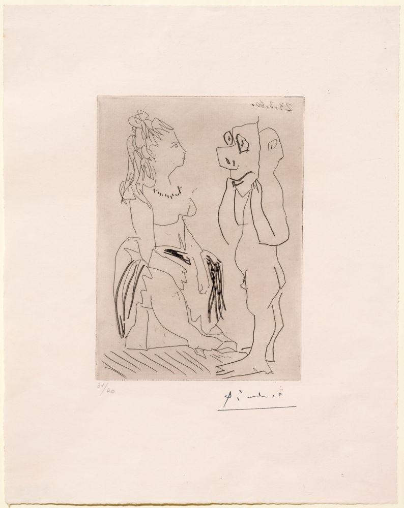 Etching Picasso - Homme Debout Avec Masque Devant Femme Assise