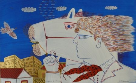 Lithograph Fassianos - Homme et cheval