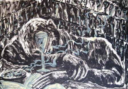 Lithograph Barcelo - Homme ivre