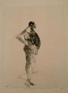 Lithograph Szafran - Homme nu