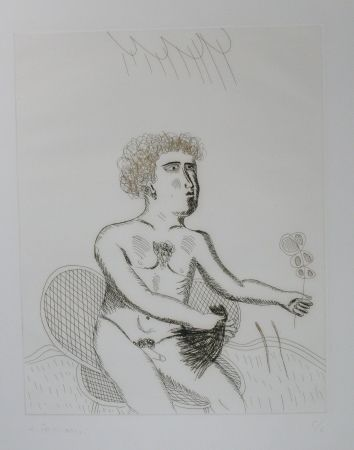 Drypoint Fassianos - Homme nu
