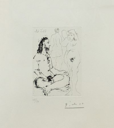 Etching Picasso - HOMME NU ASSIS EN TAILLEUR (BLOCH 1600)