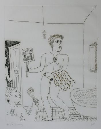 Drypoint Fassianos - Homme sortant du bain