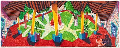 Lithograph Hockney - Hotel, Acatlan: two weeks later