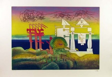 Etching And Aquatint Matta - Hours of the Day Series, 8pm