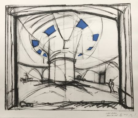 Screenprint Buraglio - Hubert Robert – Bleu gauloise