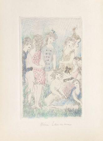 Etching Laurencin - Huit filles dans un pré
