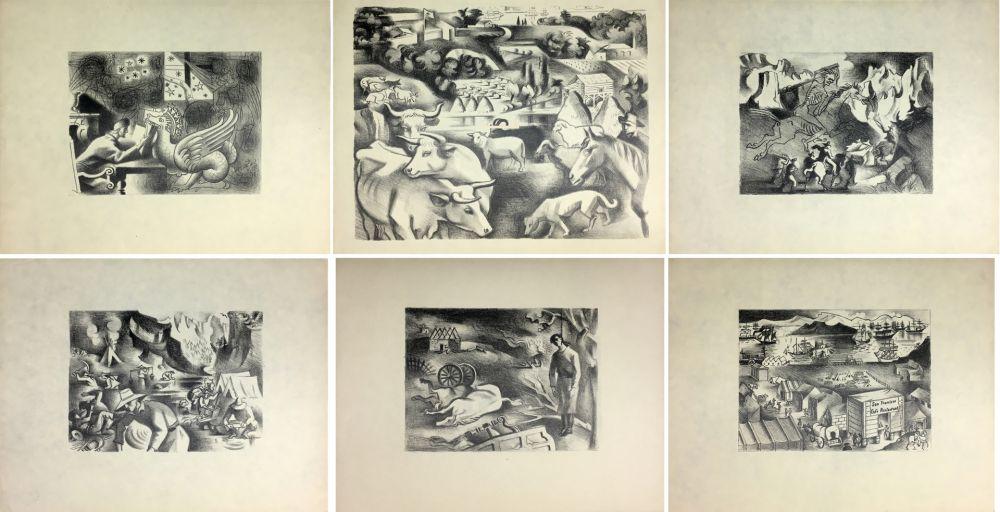 Lithograph Lhote - HUIT LITHOGRAPHIES POUR L'OR DE BLAISE CENDRARS (1938).