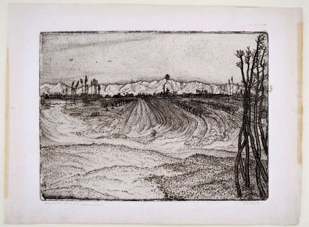 Etching Bozzetti -  I CAMPI DEVASTATI DALLA PIENA (The fields devastated by the flood), second version.