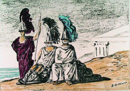 Lithograph De Chirico - I guerrieri di ritorno da Troia