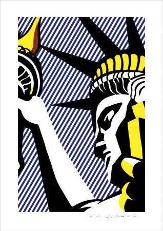 Lithograph Lichtenstein - I love liberty