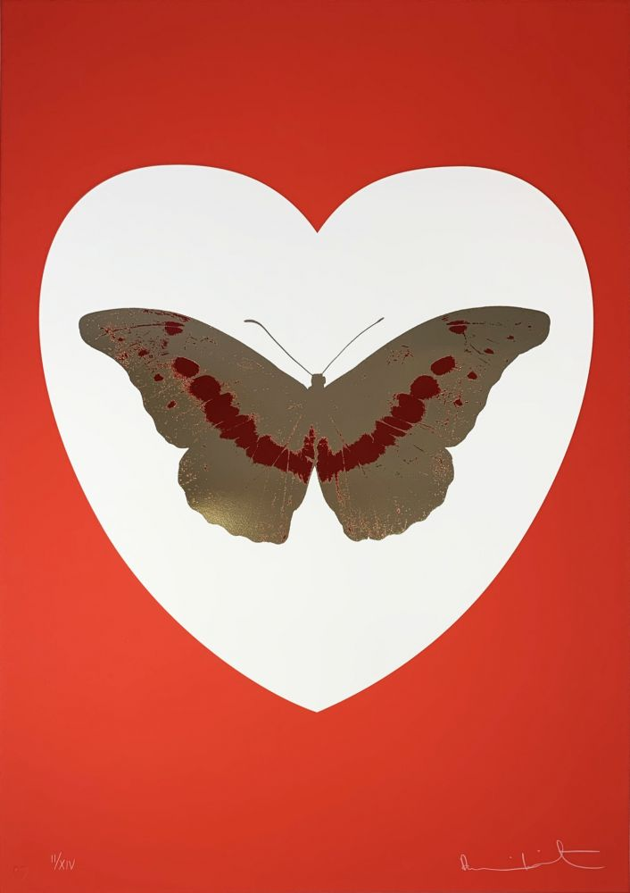 Screenprint Hirst - I Love You - White/Red/Cool Gold/Poppy Red