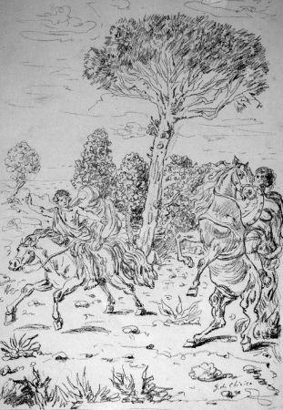 Lithograph De Chirico - I monomachi