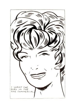 Lithograph Pettibon - I Want to be the Girl in the Wig Commercial