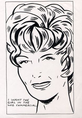 Screenprint Pettibon - I Want To Be The Girl In The Wig Commercial