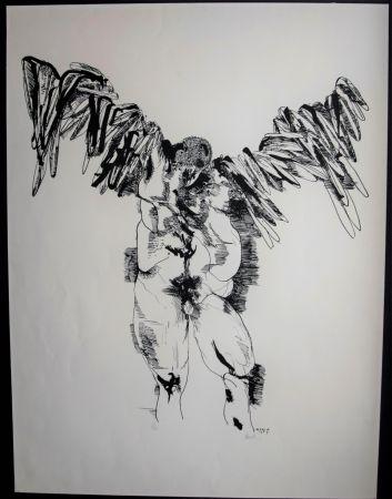 Lithograph Baskin - Icarus