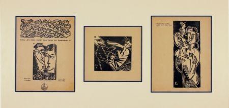 Woodcut Felixmuller  - Ich und meine Frau (Me and my wife), Geburt (Birth), Mann und Frau (Husband and Wife)