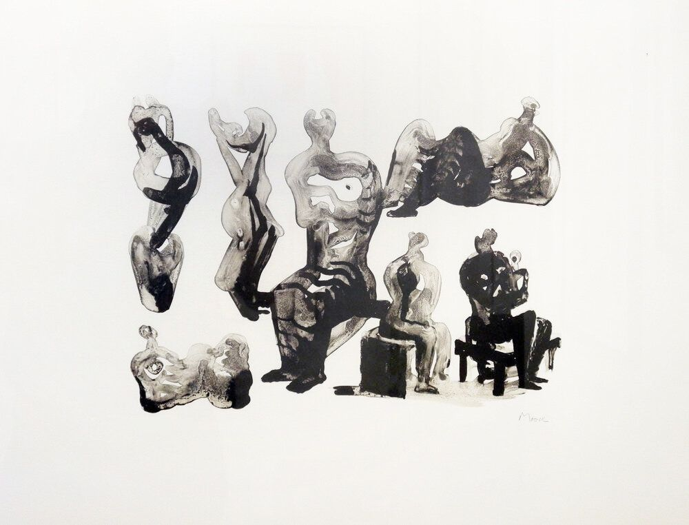 Lithograph Moore - Ideas for sculptures C. 365