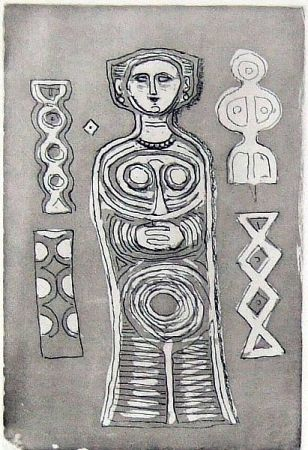 Etching And Aquatint Campigli - Idolo su fondo scuro