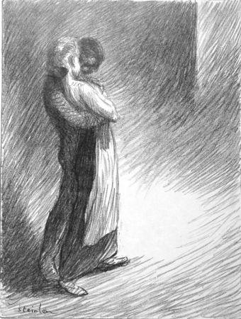 Lithograph Steinlen - Il bacio