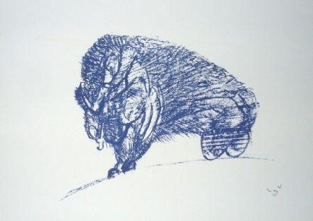 Lithograph Matta - Il Bisonte