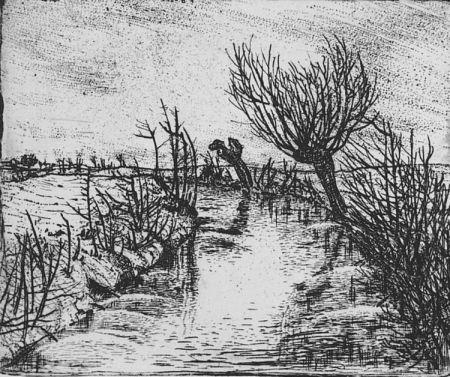 Engraving Bozzetti - Il canale d'inverno