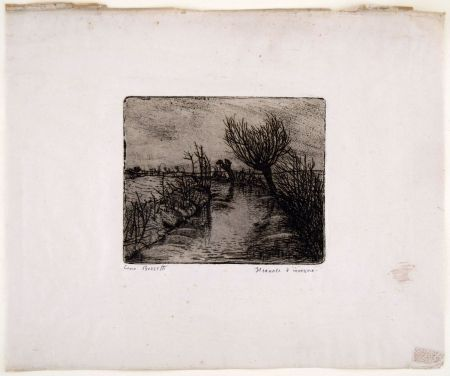 Etching Bozzetti - IL CANALE D'INVERNO (The canal in winter)