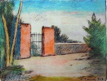 Lithograph Carra - Il cancello