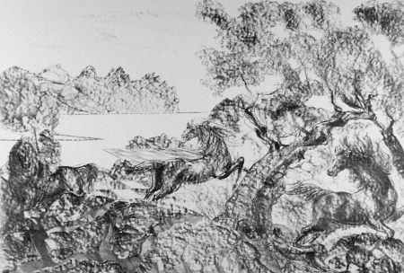 Lithograph Sassu - Il cavaliere con l'elmo