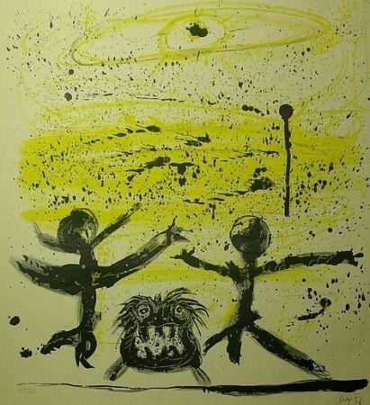Lithograph Baj - Il cielo era giallo e due personaggi danzavano col loro cane