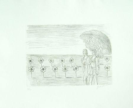 Etching De Chirico - Il giardino misterioso (Visione misteriosa, Il prato misterioso)