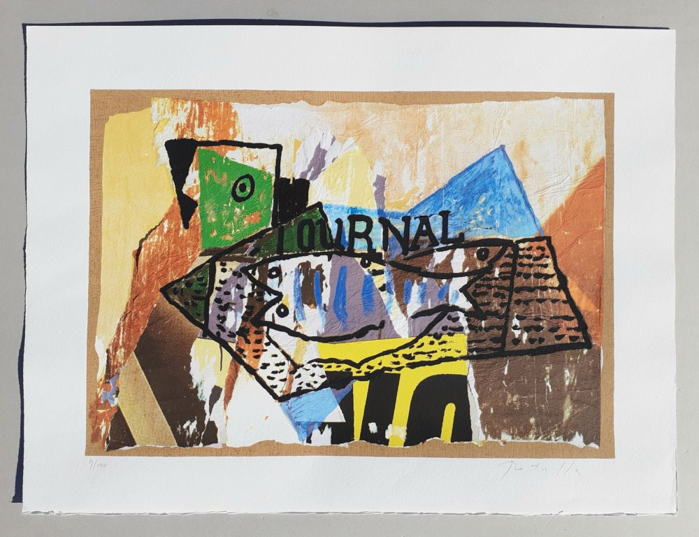 Screenprint Rotella - Il giornale di Picasso