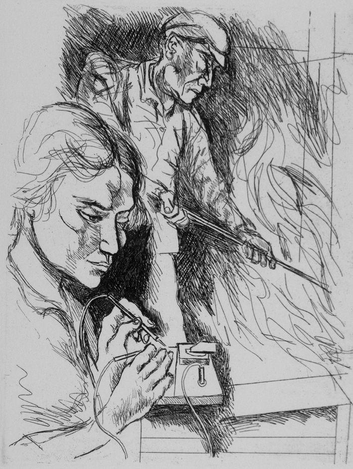 Engraving Guttuso - Il lavoro II