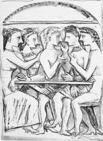 Lithograph Campigli - Il pasto