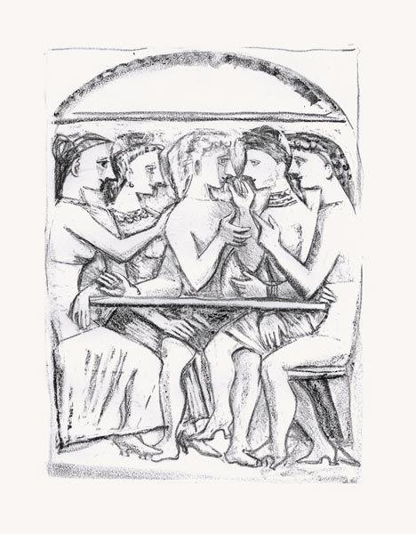 Lithograph Campigli - Il Pasto (Theseus)