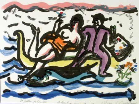 Lithograph Bartolini - Il pittore galante